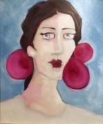 tableau personnages femme portrait rose bleu : mademoiselle C