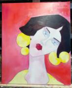 tableau personnages femme portrait rose rouge : mademoiselle E