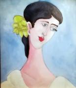 tableau personnages femme portrait bleu : mademoiselle B