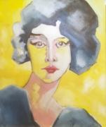 tableau personnages femme portrait jaune : mademoiselle A