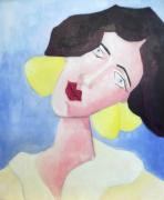 tableau personnages femme portrait rose bleu : mademoiselle D