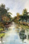 tableau paysages le canal et ses refl marennes : Le canal de Marennes