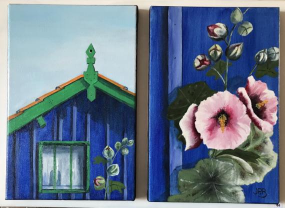TABLEAU PEINTURE diptyque 2 tableaux sur suppo réalisé en atelier Oléron Scène de genre Peinture a l'huile  - La cabane aux passe-roses