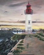 tableau paysages : Le phare et le nouveau port