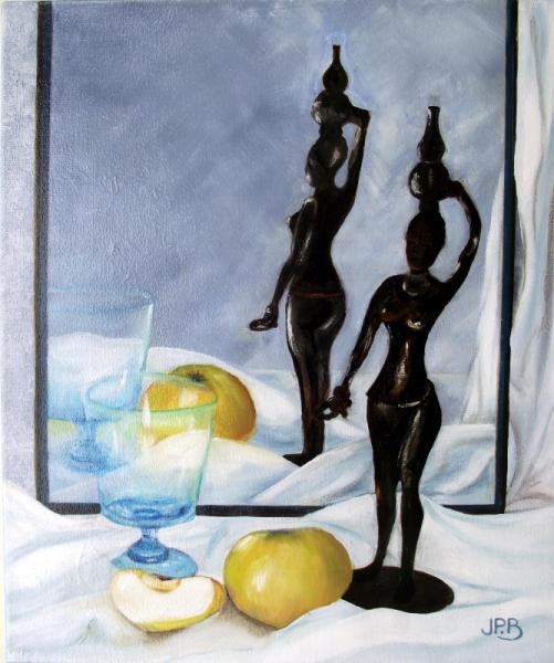 TABLEAU PEINTURE reflets dans une gla réalisé en atelier Nature morte Peinture a l'huile  - Reflets