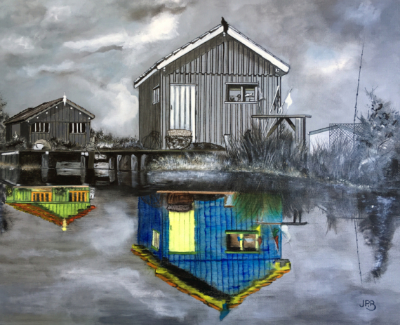 TABLEAU PEINTURE cabanes ostréicoles Fort Royer Paysages Peinture a l'huile  - Fort Royer reflets particuliers