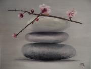 tableau nature morte galets avec fleurs d realise en atelier : Galets zen