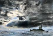 tableau marine entre ciel et mer sur le pont d o : ciel d'orage sur fort Louvois