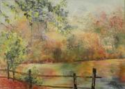 tableau paysages bord d un etang paysage d autom oleron : Couleurs d'automne