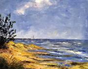 tableau paysages bord de mer travail au couteaux apercu du phare depu : Chassiron à l'horizon