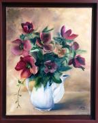 tableau fleurs bouquet de fleurs oleron realise en atelier roses de noel : Les roses de noêl