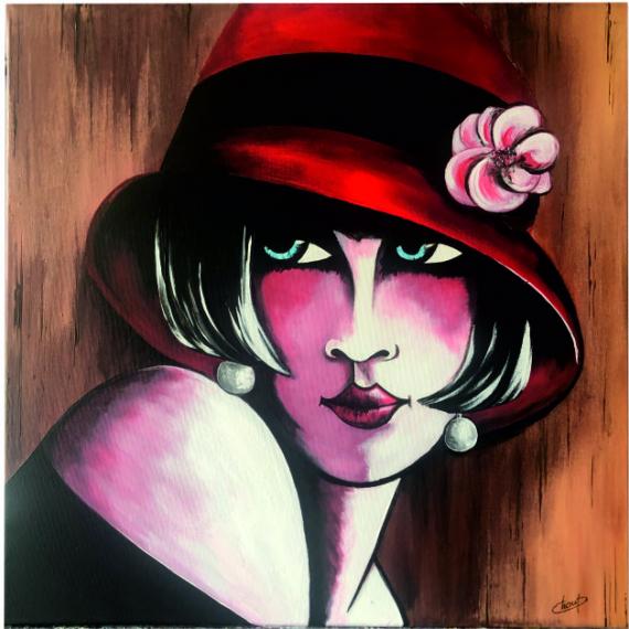 TABLEAU PEINTURE portrait figuratif année30 Chapeau rouge Personnages Acrylique  - Le chapeau rouge aux yeux bleus