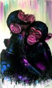 tableau animaux singes toile peinte ,a la ma animaux les petits singe par : les petits singes