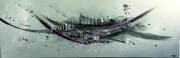 tableau abstrait tableau abstrait toile de choup deco murale tableau fait main : La cité perdue