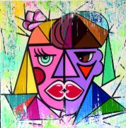 tableau abstrait bisou coeur choup : Le bisou de coeurs