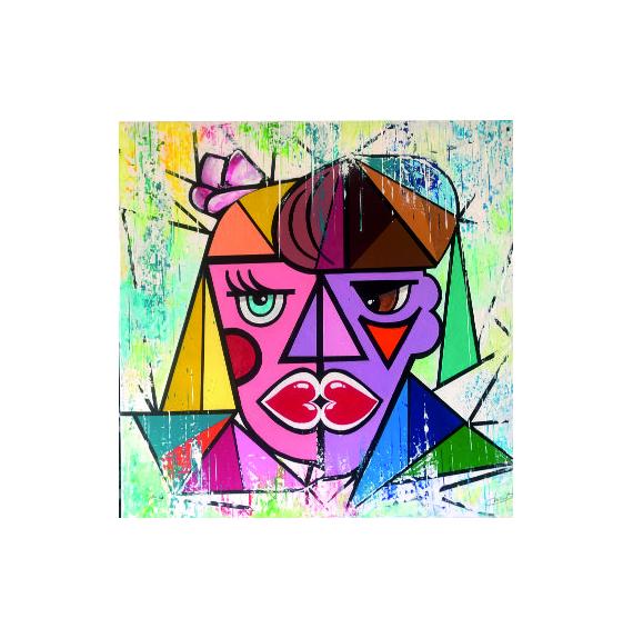 TABLEAU PEINTURE abstrait bisou coeur choup Acrylique  - Le bisou de coeurs