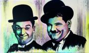 tableau personnages cinema comiques fait main realisation choup : Laurel et Hardy