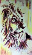 tableau animaux le roi lion animal sauvage fait main deco interieure : Le lion de la savane