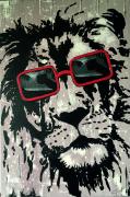 tableau animaux tableau humour selfy lion animaux tableau fait main : Selfy Lion