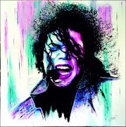 tableau personnages portrait jackson toile peinte ,a la ma musique chanteur : Mickael Jackson