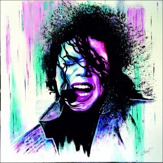TABLEAU PEINTURE portrait Jackson toile peinte à la ma musique chanteur Personnages Acrylique  - Mickael Jackson
