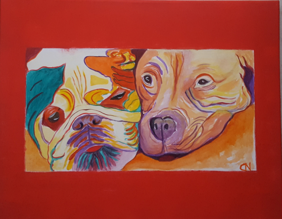 TABLEAU PEINTURE Bestiaire Pop Art Chat Animaux colorés Animaux Acrylique  - Création N° 13