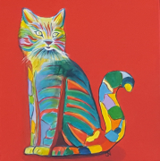 tableau animaux pop art bestiaire chat colore chat : N°7