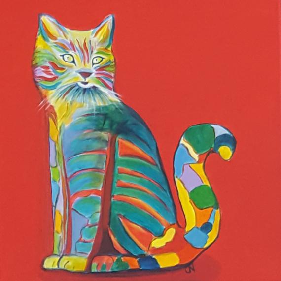 TABLEAU PEINTURE Pop Art Bestiaire Chat color� Chat Animaux Acrylique  - N� title=