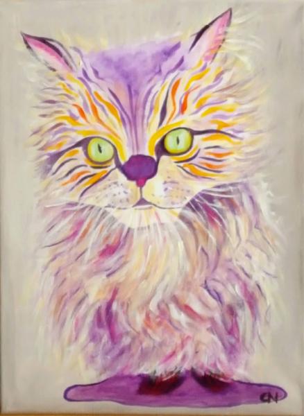 TABLEAU PEINTURE Bestiaire Animaux Pop Art Animaux colorés Chat moderne Animaux Acrylique  - Création N° 18