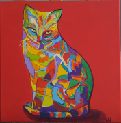 tableau animaux pop art bestiaire chat colore : N°4