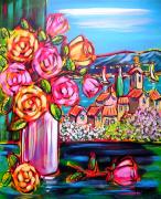 tableau fleurs bouquet fleurs paysage mer : bouquet à la fenêtre