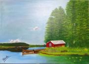 tableau paysages toile peinture paysage nature tableau original : Paysage suédois