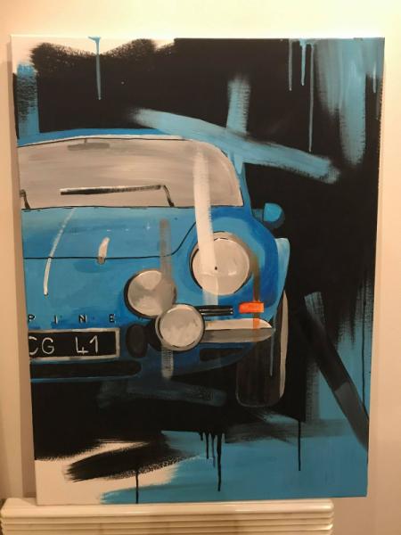 TABLEAU PEINTURE voiture alpine bleu art Acrylique  - alpine bleu