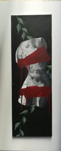 PAINTING censure femme corps floral Nus Acrylique  - censure