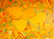 tableau abstrait style annee 70 geometrie couleur chaud : rose galactique