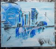 tableau abstrait abstrait ville : Blue town