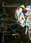 tableau animaux elephant pop art abstrait : Loxodonta