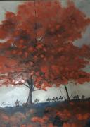 tableau paysages arbre caravane chine : Caravane vers Xian