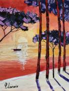 tableau marine plage coucher soleil : On dirait le Sud