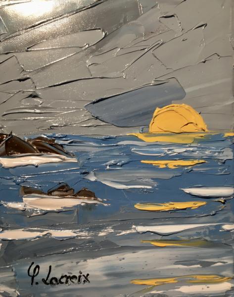 TABLEAU PEINTURE Vagues Lever de soleil Océan Marine Peinture a l'huile  - Houleen