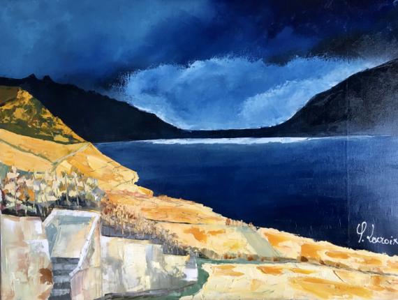 TABLEAU PEINTURE Léman Lavaux Lac Vignobles Paysages Peinture a l'huile  - Paysage du Lavaux