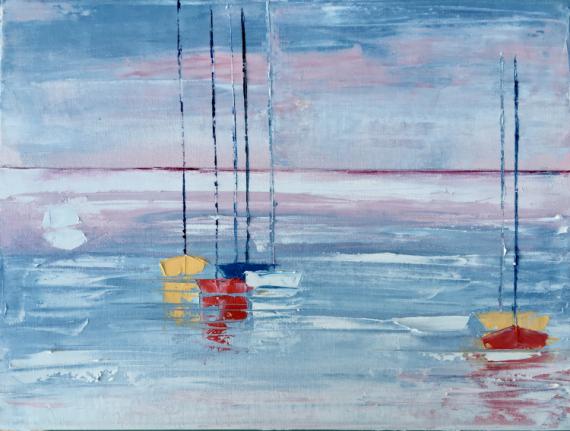TABLEAU PEINTURE voilier soleil lever Marine Peinture a l'huile  - lever de soleil sur les voiliers