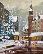 tableau villes village neige noel : Village de Noël