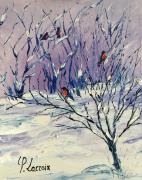 tableau animaux oiseaux neige arbre : 4 little birds