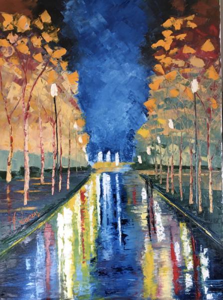 TABLEAU PEINTURE Reflets Ville Rue Pluie Villes Peinture a l'huile  - Reflets / VENDU