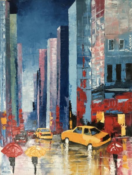 TABLEAU PEINTURE New York Buildings Yellow cabs Villes Peinture a l'huile  - Madame July