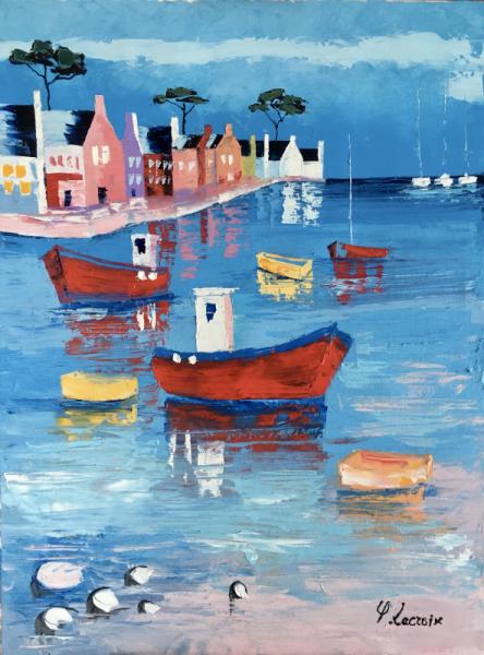 TABLEAU PEINTURE Bretagne Port Bateaux Marine Peinture a l'huile  - Porzh Bag