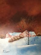 tableau paysages neige scandinavie fermes : Scandinavie