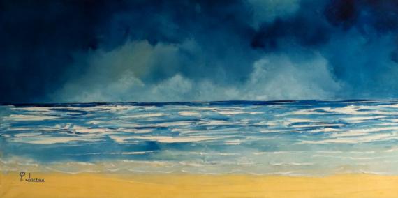 TABLEAU PEINTURE Plage Biarritz vagues Marine Peinture a l'huile  - Biarritz plage