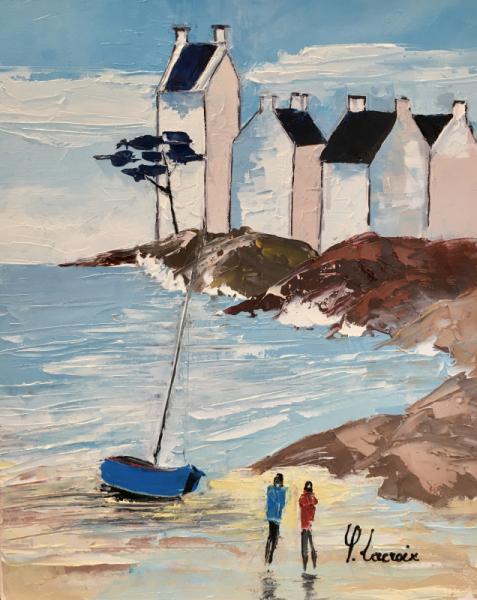 TABLEAU PEINTURE Bretagne Village Plage Marine Peinture a l'huile  - Traezh Ker